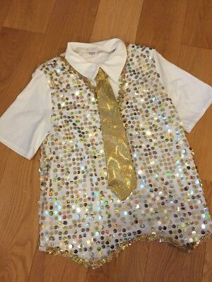 A Wish Come True 15672 Dance Boys White & Gold Sequined Shirt Size Large Child