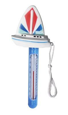 """HydroTools Blue and White Sail Boat Thermometer for Swimming Pools or Spas 9.5"""""""