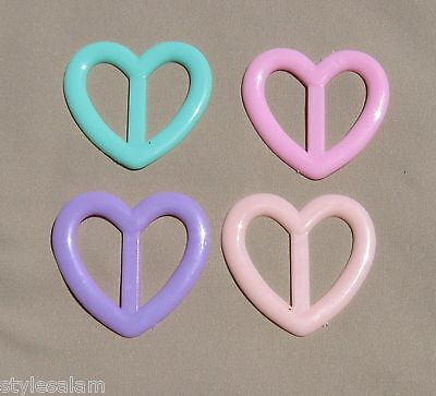 Tee shirt clip pull holder tie heart ring ONE pastel green pink peach lavender