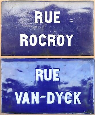 C19th French porcelain china street sign road plaque Rocroy and Van Dyck Lille