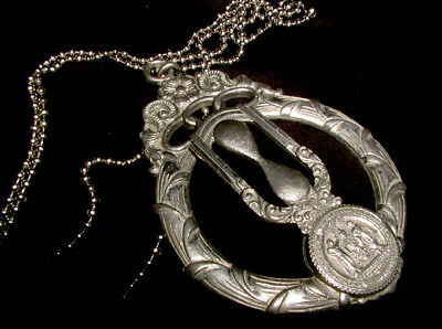 ANTIQUE Historic MYSTIC HOURGLASS Classic ODD FELLOWS MEDALLION! Necklace ORNATE
