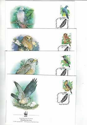 2002 Christmas Island WWF Endangered Species SG 507/10 set four FDC or FU