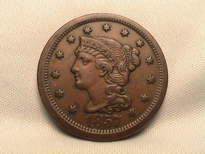 1857 Braided Hair Large Cent. Large Date  Key Date
