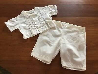 Very Vtg Easter Boys Shorts Shirt Outfit - A-Lad-'N Togs - Off White Pintuck - 3