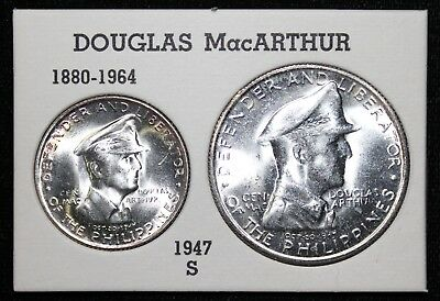1947-S Philippines 1 Peso & 50 Centavos MacArthur Coin Set in Case ~ Silver
