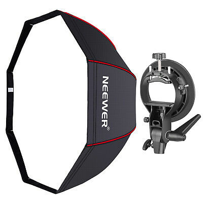 Neewer Studio 48 inch Octagonal Softbox with Red Edges S Bracket Holder