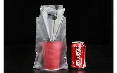 100 Plastic Shopping Carrying Bag For Soft Drink Beer Cans 275x173mm