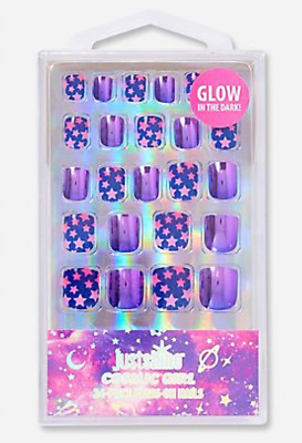 Justice Just Shine COSMIC Girl 24-Piece Press On Nails GLOW in the Dark New