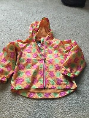 Girls Sz 5/6 LL Bean Turtle Print Wind Jacket Great For Spring