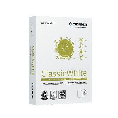 Steinbeis A4 Printer Paper Classic White 80gsm 5 reams 2500 sheets 100% recycled