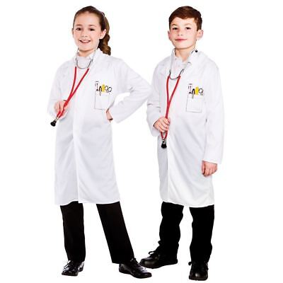 Child Kids White Lab Coat Doctors Surgeon Boys Girls Fancy Dress Costume S-L