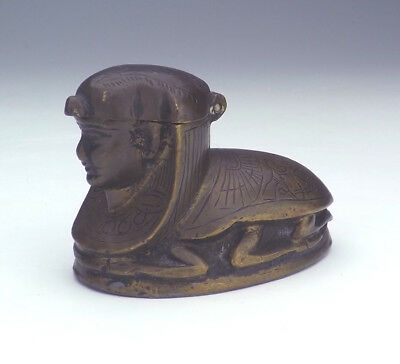 Antique Egyptian Sphinx Scarab Formed Lidded Bronze Figure - Unusual!