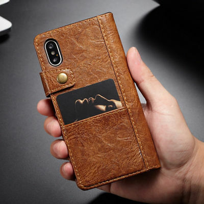 Luxury Vintage  Leather Wallet Card Slot Flip Case Cover For iPhone X 8 Plus 6S