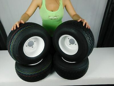 MASSFX Wheel and Tire Combo 18x8.5-8 Golf Cart Tire with White 4/4 Rim 4 Pack