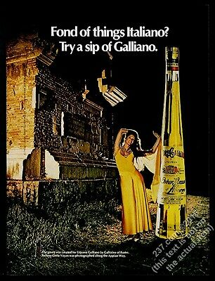 1973 Greta Valliant Vayan photo Galliano liquore vintage print ad