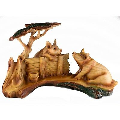 Pigs Faux Carved Wood Look Figurine Resin 9.25 Inch Long New In Box