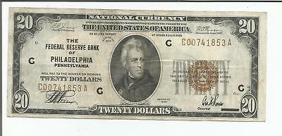 1929 $20 Philadelphia National Bank Currency