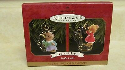 Hallmark Keepsake - Hello Hello 1999 - mice on phones 2 pcs.- VGC