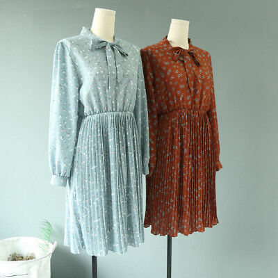 New Sweet Bow Collar Women Dress Summer Long Sleeve Floral Printed Beach Party