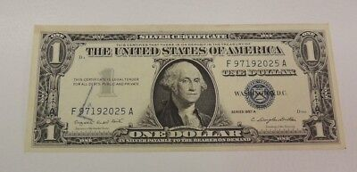 .United States $1 Silver Certificate 1957 Smith Dillon Serial #F97192025