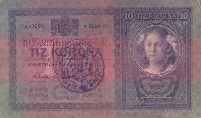 10 Korona/kronen Fine Note1919 With A Stamp From Shs Kingdom!