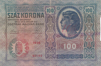 100 Kronen Vf-Fine Note With A Stamp From Torontal County/vojvodina 1919!r!