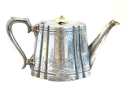 Antique Silver Plated Floral Engraved Fluted Ornate Coffee Tea Pot Cooper Bros