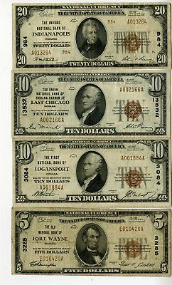 4 1929 National Banknotes From Indiana, Fort Wayne, Logansport, East Chicago