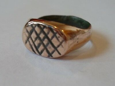 Genuine & Superb 200-400 A.d Roman Ae Decorated Bezel Ring, Expertly Polished.