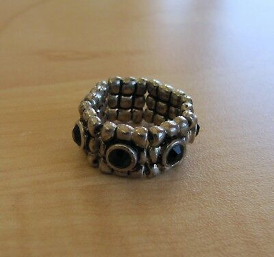 Beautiful Silver Toned Stretchy Ring with Black Stones Size 7