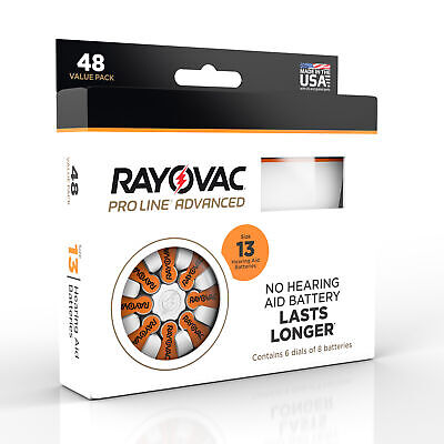 Rayovac Proline Advanced Hearing Aid Batteries Size 13A (48 Batteries)