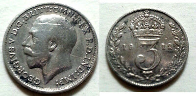 TITANIC SOLID SILVER Threepence 1912 Coin Antique Vintage Ship 3p British Old UK