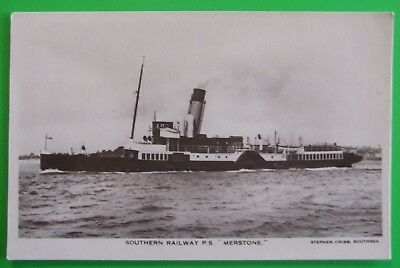 PADDLE STEAMER RP Postcard c.1925 SOUTHERN RAILWAY P.S.MERSTONE