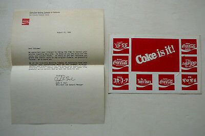Coca-Cola 1985 Promo Stickers With Letter ( Free Us Shipping )
