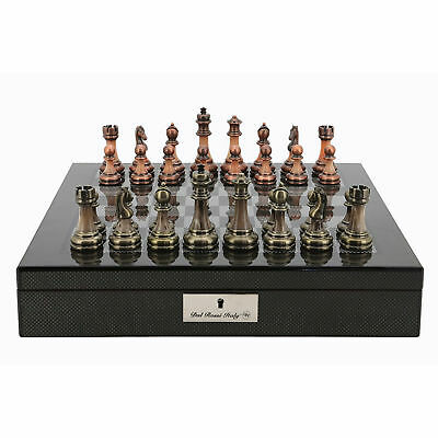 SAVE ON Dal Rossi Carbon Fiber Look Chess Box with Antique Chessmen NKT