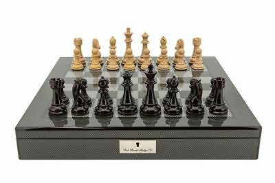 Dal Rossi Dark Red and Box Wood Chess Pieces on Carbon Fiber Style Board Box