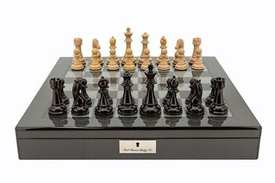 SAVE ON Dal Rossi Dark Red and Box Wood Chess Pieces on Carbon Fiber Style Bo...