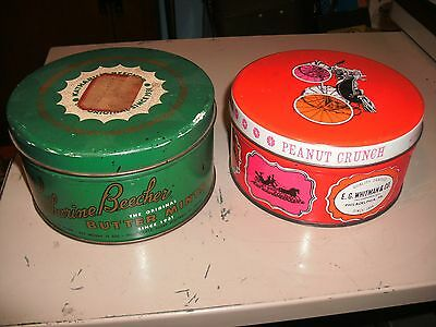 2 Vintage Metal Tin E.G. Whitman Co Peanut Crunch & K Beecher Mints with Lid