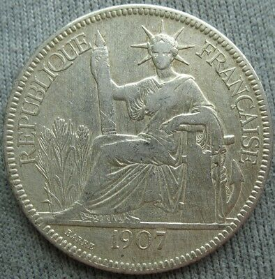 1907-A French Indo China 1 Piastre
