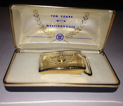 Vintage 10 YEARS WITH WESTINGHOUSE Employee Presentation Gold Buckle Advertising