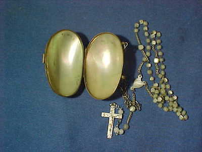 Early 20thc MOTHER of PEARL Miniature EGG LOCKET PURSE w ROSARY BEADS # 2