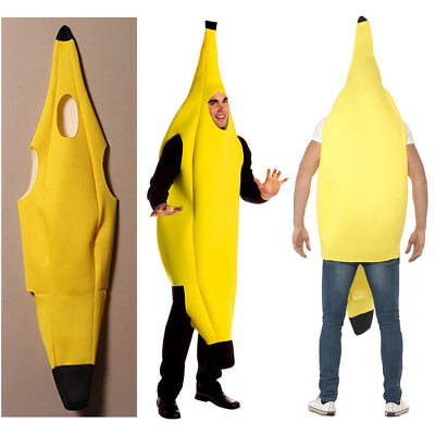 Banana Costume Adult Fancy Dress Party Easter Comical Funny Fruit Cosplay Suit
