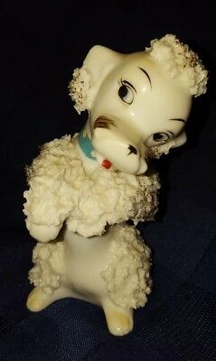 Vintage Spaghetti Poodle Figurine, Ceramic White Gold w/blue collar