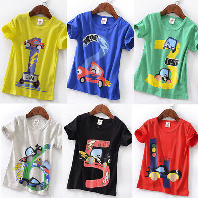 Toddler Kids Baby Boys Girls Loose Short Sleeve Cartoon Tops T-Shirt Blouse -6Y