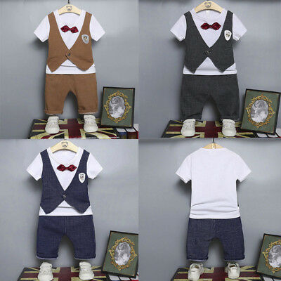 2PCS Infant Baby Kids Boys Shirt Tops Bow +Pants Outfits Clothes Gentleman Set