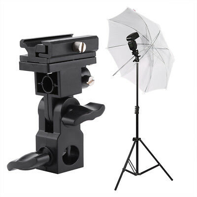 Negro Flash Hot Shoe Paraguas Holder Light Stand Soporte Tipo B para Fotografía