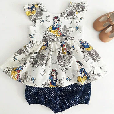 Cute Snow White Baby Girls Tops Vest T shirt Dress+Briefs Shorts 2pcs Outfit Set