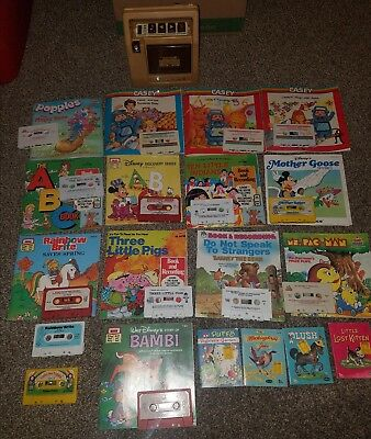 Fisher Price Tape Player Recorder and 13 Read Along Books with Tapes