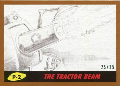 Mars Attacks The Revenge Bronze [25] Pencil Art Base Card P-2 The Tractor Beam