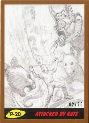 Mars Attacks The Revenge Bronze [25] Pencil Art Base Card P-20 Attacked by Rats